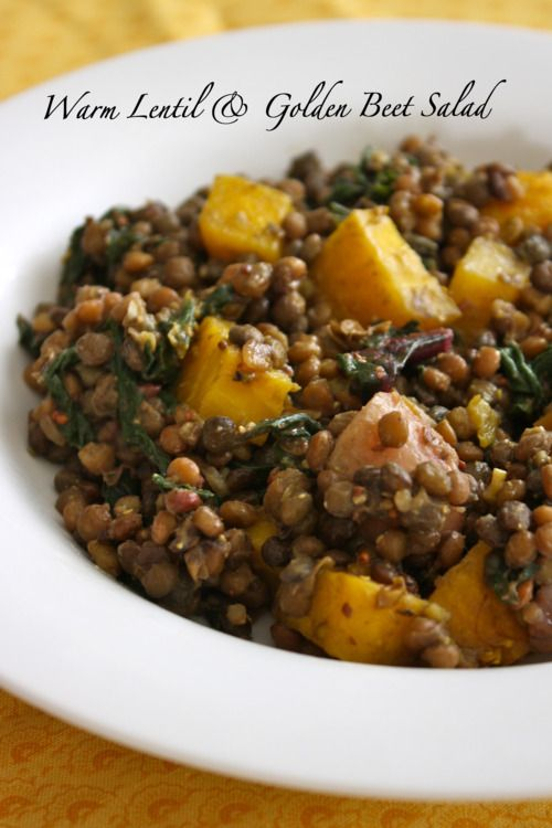Warm Lentil & Golden Beet Salad with Black Currant Vinaigrette