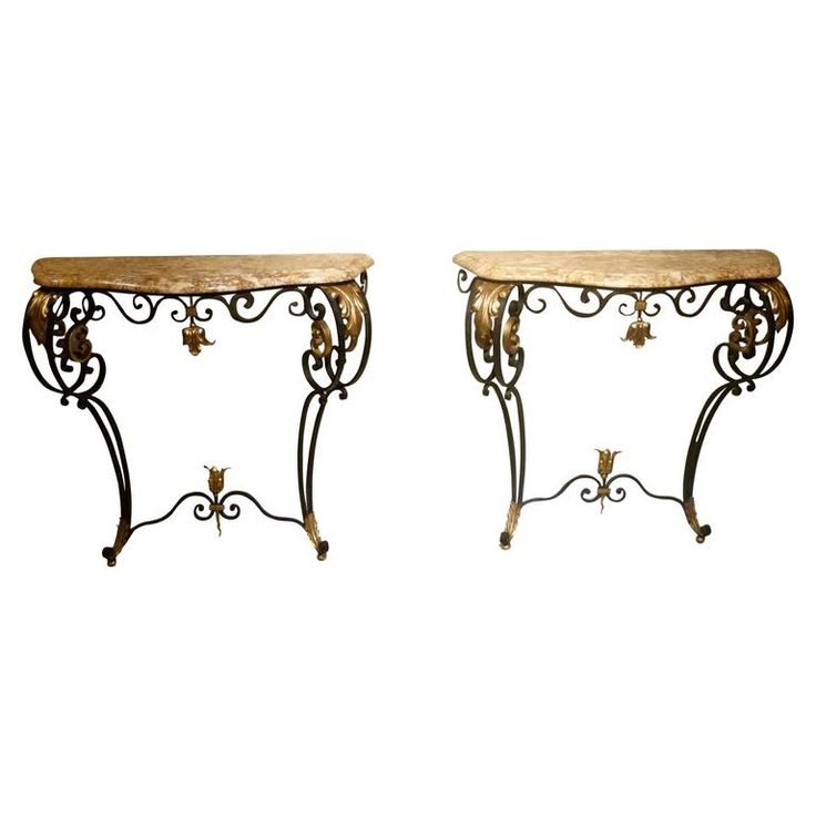 Pair of 20th Century French Wrought Iron Console Tables | From a unique collection of antique and modern console-tables at https://www.1stdibs.com/furniture/tables/console-tables/