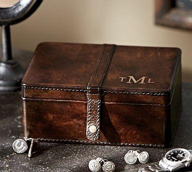 Saddle Leather Cuff Link Box #potterybarn