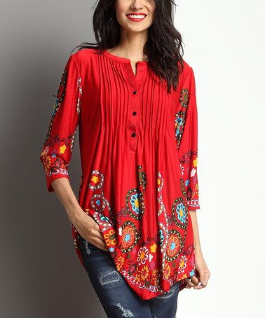 This Red Garden Notch Neck Pin-Tuck Tunic by Reborn Collection is perfect! #zulilyfinds
