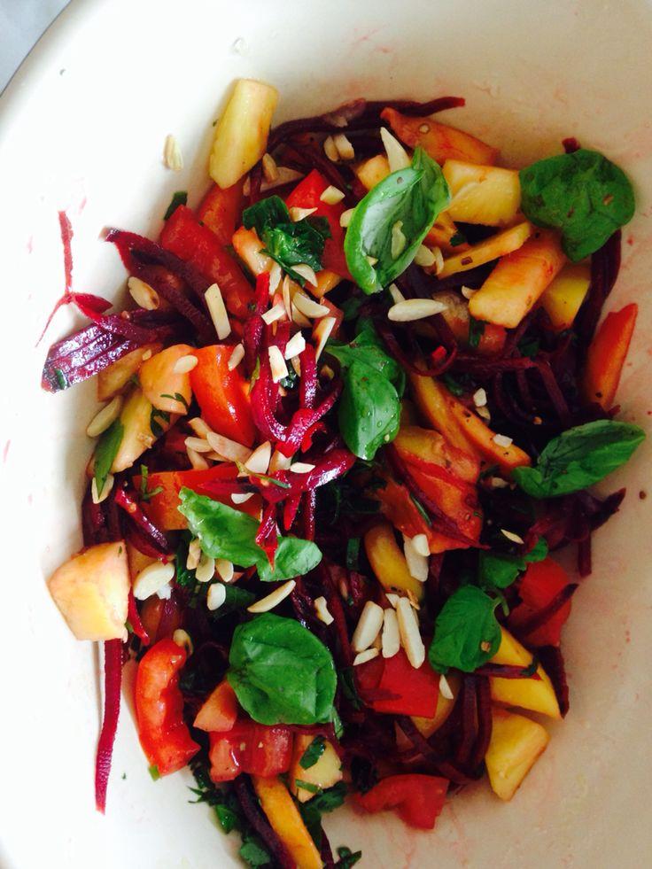 Beetroot mango basil tomato red onion almond olive oil balsamic vinegar salt and pepper