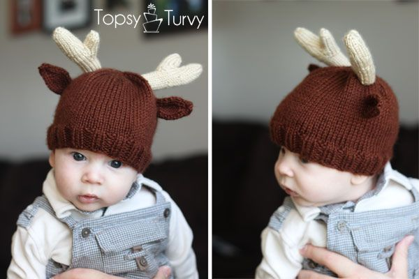Knitted not crochet but, reindeer-hat-knit-pattern-infant by Ashlee @ imtopsyturvy, via Flickr