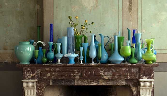 Collection of blue & green Murano glass - Photo by Andreas von Einsiedel.