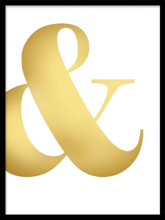 Typografi i gull, &-tegn i gullfoliering.