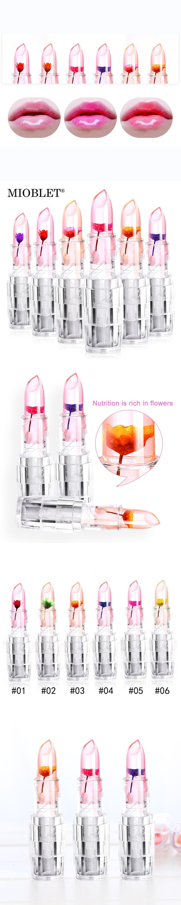 Hot Selling Flower Essence Nutritious Jelly Lipstick Waterproof Lip Care Makeup Chrysanthemum Temperature Change Lip Stick Gloss