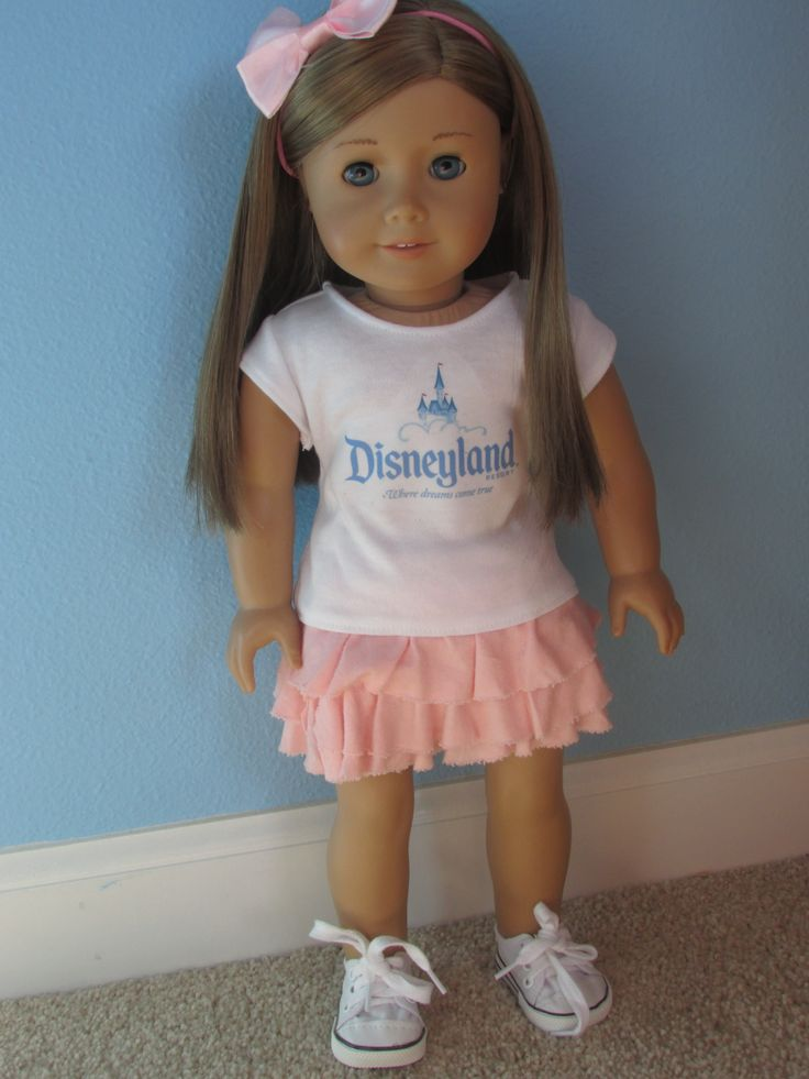 """Upcycle T-shirt To American Girl Doll Tshirt And Upcycle 15"""" Wide Tshirt To Ruffle Skirt - Free Pattern/Tutorial"""