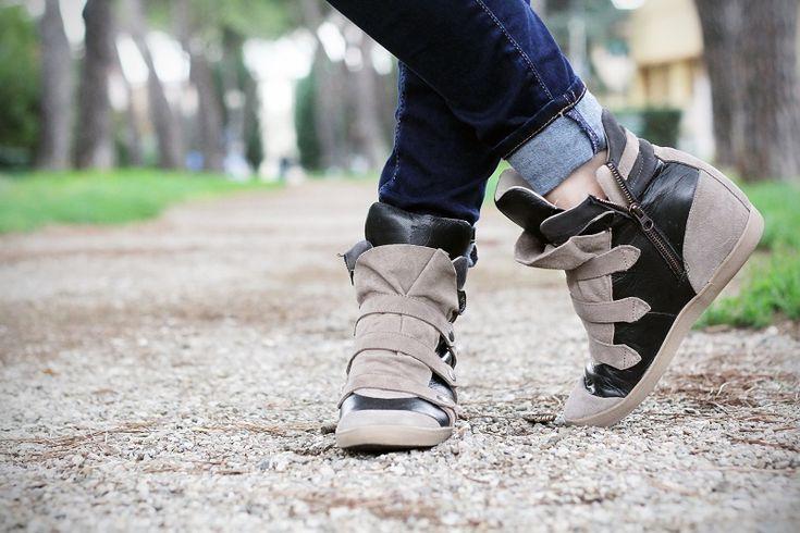 #fashion #shoes scarpe da ginnastica con la zeppa