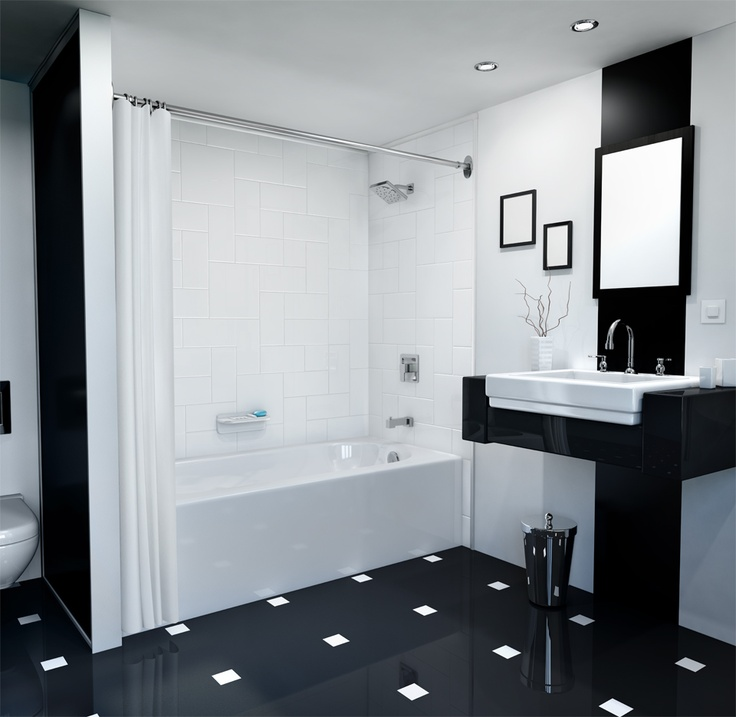 Black And White Designs Give This Bath A Sleek Modern Look