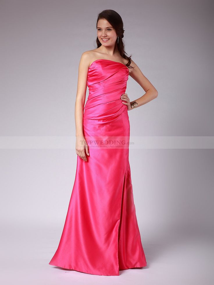 Strapless Elastic Satin Bridesmaid Dress with Pleated Bodice 0114007