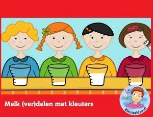 Geef alle kinderen evenveel melk, kleuters op digibord of computer, kleuteridee, Kindergarten educative game for IBW or computer