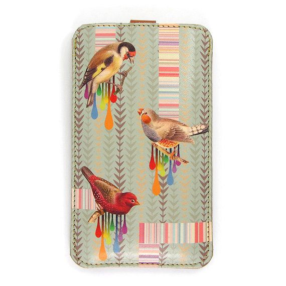 Leather iPhone case / iTouch case  Birds and stripes by tovicorrie, $43.00