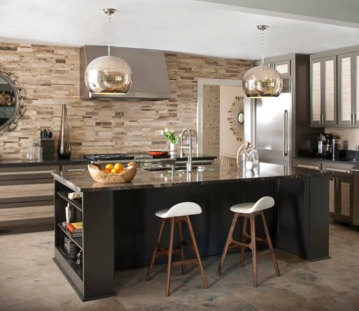 Black Cabinets, Sand Brown Backsplash & Countertop