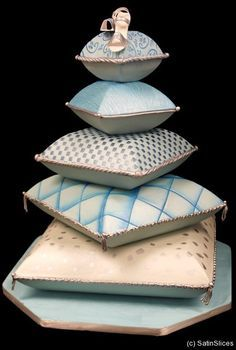 Cushion/Pillow Cake - For all your cake decorating supplies, please visit craftcompany.co.uk Tiffany light green blue ivory white cream accents Note unique cut on each cushion fondant & silver