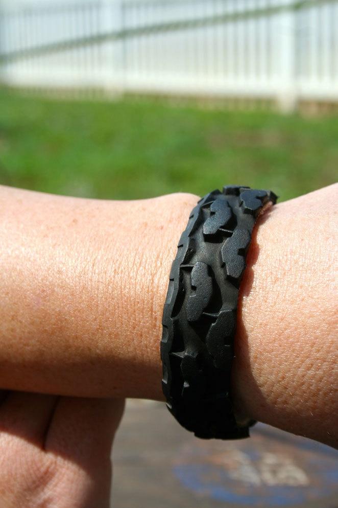 Upcycled Bike Tire snap on bracelet. $7.00, via Etsy.