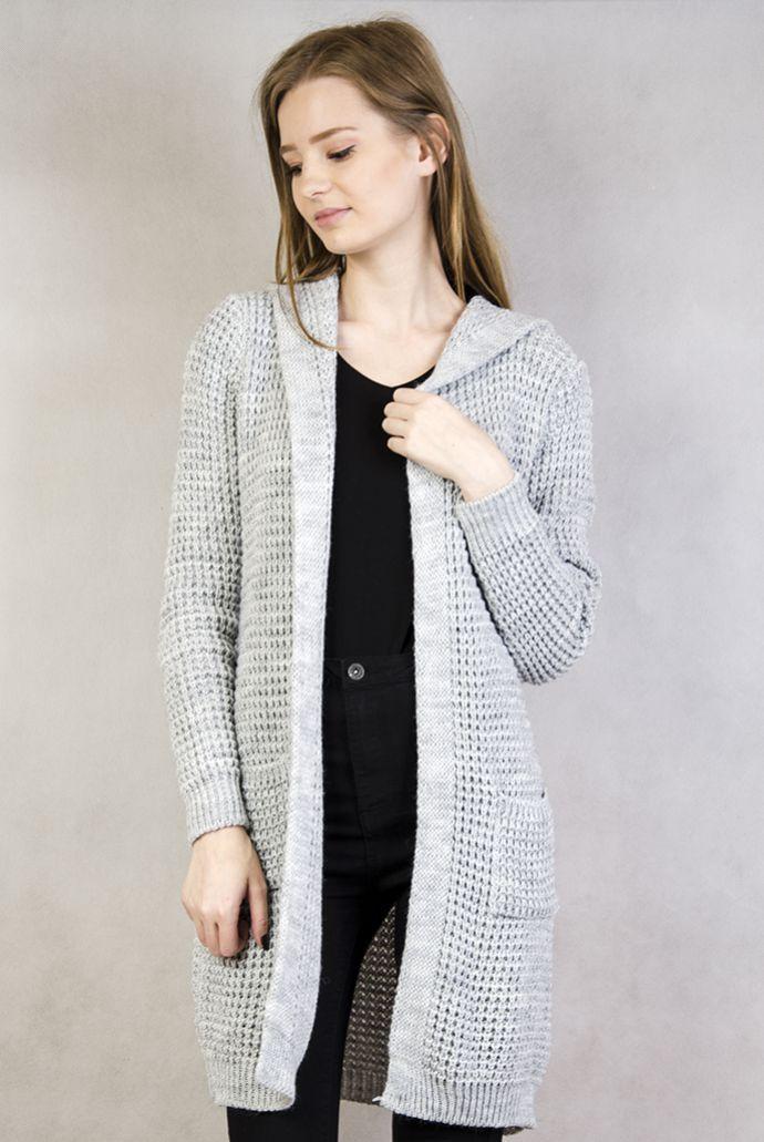 Szary, długi sweterek z kapturem