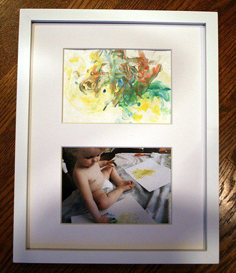Behind-the-Scenes Artwork: The gift of art is especially precious with a photo of the little artist working on a painting just for grandpa. Source: Rachel Bishop Designs