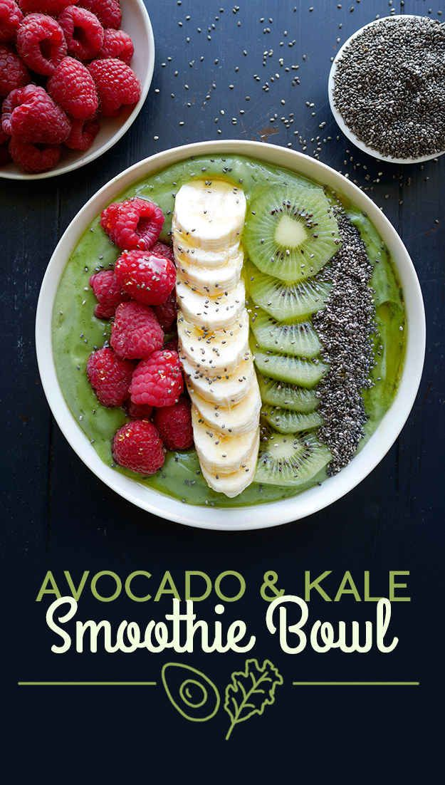 Avocado and Kale Smoothie Bowl blend kale leaves, almond milk, banana, avocado, ice, and agave syrup. The toppings are raspberries, banana, kiwi, chia seeds, and a drizzle of agave.