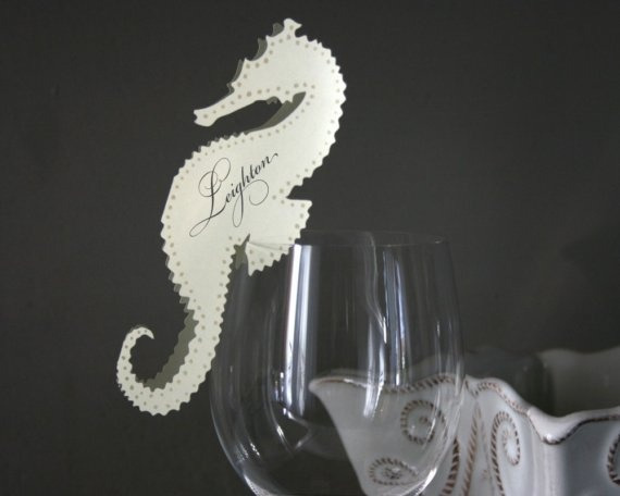 Seahorse Place Cards  Reserved for Claire by TimelessPaper on Etsy, $6.00
