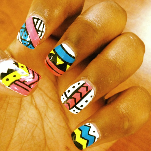 My Tribal $ azteca designed nails