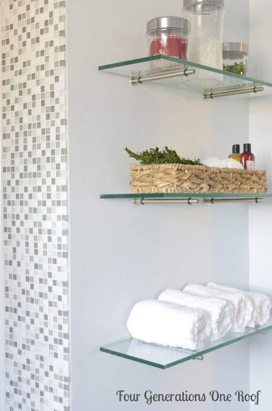 diy bathroom renovation glass shelving