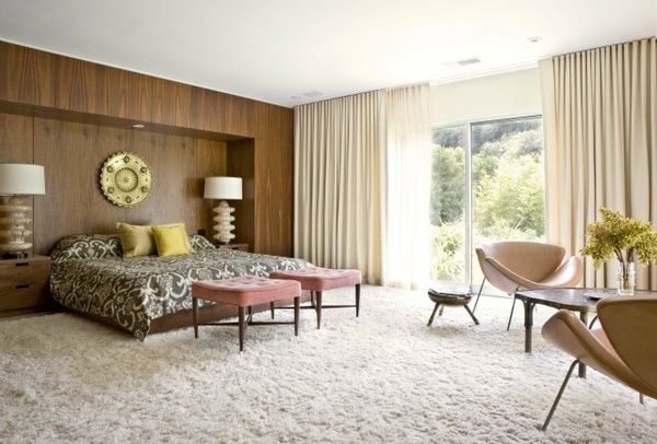 Mid century modern bedroom, love the shag carpet, drapes, all!
