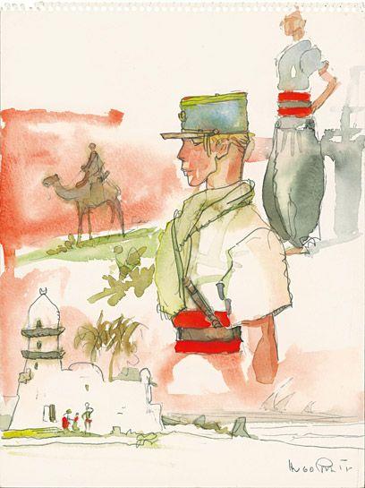 Militari Hugo Pratt ha vissuto gli anni della guerra fra popoli ed eserciti differenti. E nei suoi acquerelli si ritrova, non meno che nelle sue celebri tavole, il fascino che esercitava su di lui la bellezza delle uniformi, con i loro colori e le loro caratteristiche. Tutte queste immagini, le bandiere, gli stemmi e