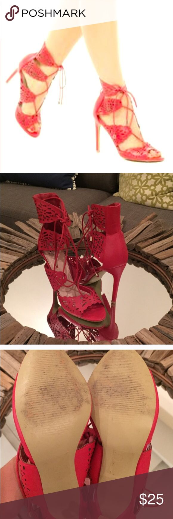 Sexy Cherry Red ShoeDazzle Lace Up Heels Sexy Cherry Red ShoeDazzle Lace Up Heels 👠Worn only once! Elegant and Seductive 💋 Shoe Dazzle Shoes Heels