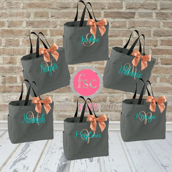 Hey, I found this really awesome Etsy listing at https://www.etsy.com/listing/240442247/6-bridal-party-tote-bags-bridesmaid