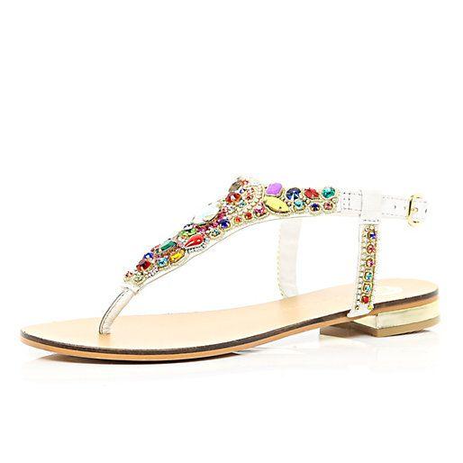 White gem stone embellished T bar sandals