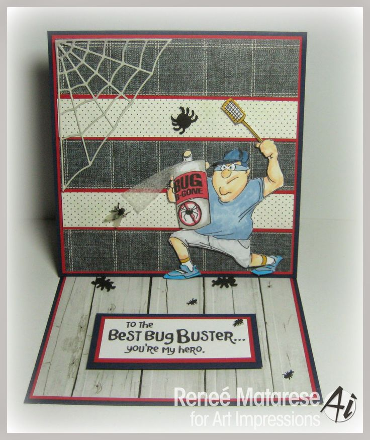 Ai Heroes from Art Impressions. Easel card featuring Bug Buster Set. Handmade card for Father's Day, Masculine birthday etc.