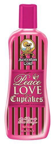 Australian Gold Peace Love & Cupcakes Dark Bronzer - 8.5 oz. by Australian Gold. Save 30 Off!. $13.25. Deliciously Dark Bronzer. Bronzer/Hemp/Natural This 10x deliciously dark bronzer will give you deep natural color while a perfect mix of skincare gives your skin a sweet treat glow! Hemp Seed oil conditions, moisturizes and protects from toxins making you look (and smell) good enough to taste. This is one treat you can afford to overindulge in.... it is calorie-free!   Product Size: 8.5 fl…