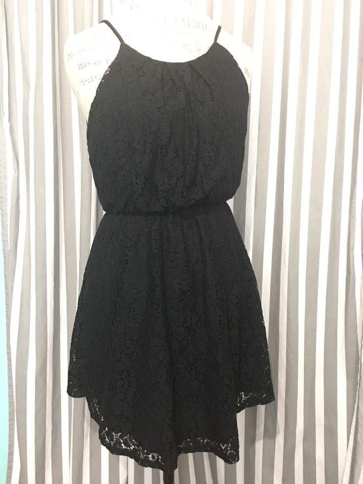 Women's Black Lace Empire Waist Dress, Size Medium     eBay