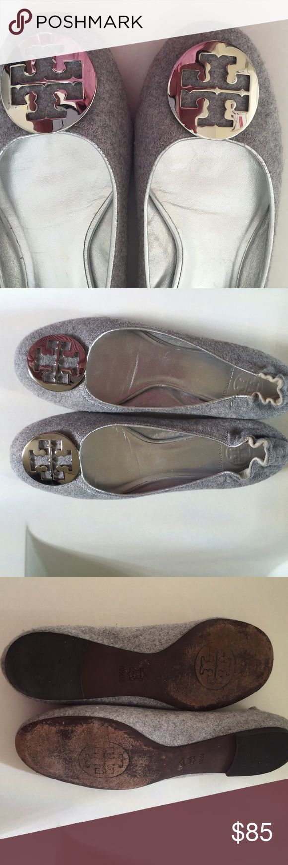 Tony Burch Suede Silver Reva Ballet Shoes 10.5 Tony Burch Reva Silver Ballet Flats with Silver Leather Trim. Very Nice Condition Size is 10.5 Tony Burch  Shoes Flats & Loafers