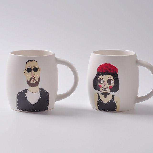 Забавный мультяшные персонажи лицо керамическая творческие мужчины и женщины керамическая кружка