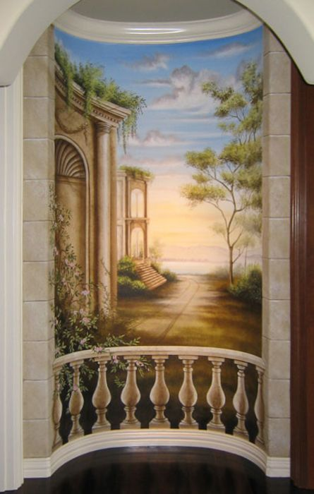 449 best images about tromp l 39 oeil on pinterest - Deco trompe l oeil mural ...