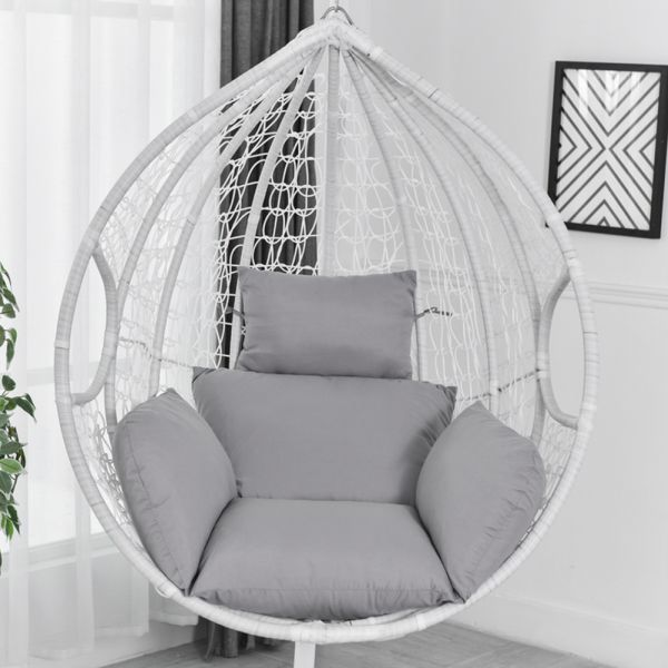 Swing Hanging Basket Seat Cushion Outdoor Soft Hammock Chair Pad Back WithPillow