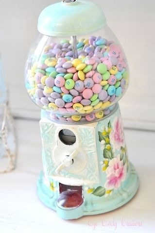 pastel coloured mandms in kitsch chintz floral pattern dispenser a must for any kitsch vintage loving girls dressing table .