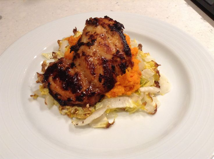 Citrus marinated chicken thighs over roasted cabbage & mashed sweet ...