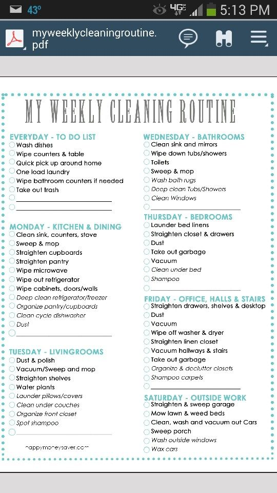 12 best Organization images on Pinterest Cleaning charts, Diy - cleaning schedule template