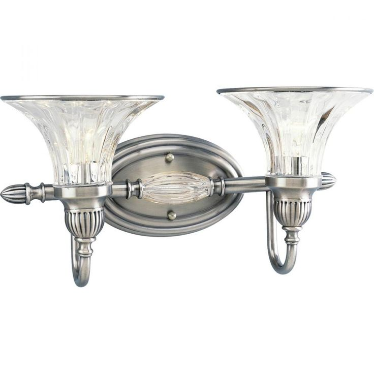 Two Light Clear Crystal Glass Classic Silver Vanity