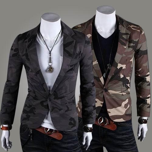 Camouflage Print Slim Fit Blazer