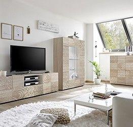 Sala completa di base porta tv, madia e vetrina in rovere serigrafato