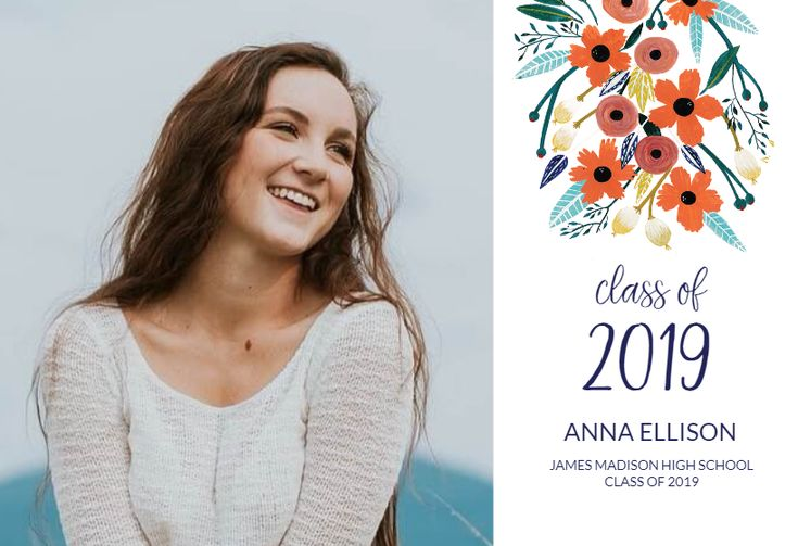 Orange Floral announcement template. Customize, add text and photos. Print, download, send online for free!  #announcements #printable #diy #template #graduation