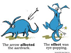 The difference between affect and effect.   I know some of you know I have an affinity for grammar.