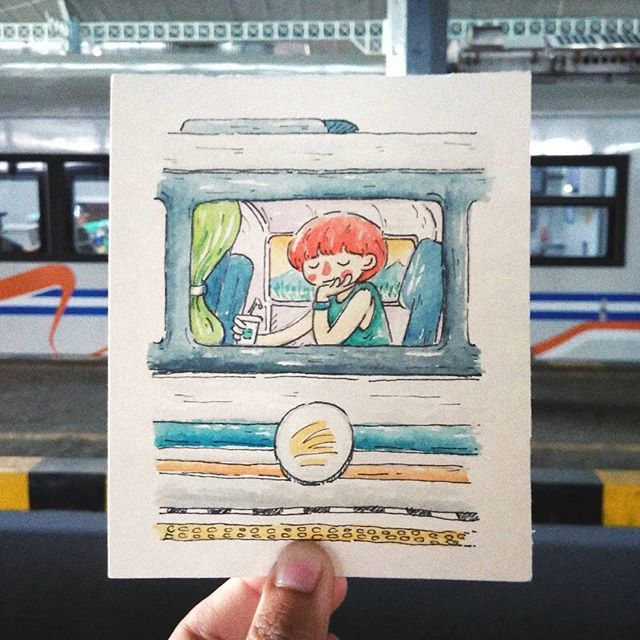 Inktober #05 Trains  She was thinking.. I like trains. I like their rhythm, and I like the freedom of being suspended between two places, all anxieties of purpose taken care of: for this moment I know where I am going. - Anna Funder . . . . . . . . . .  #illustration #character #watercolor #aquarelle #girl #train #yogyakarta #journey #inktober #inktober2017 #explore #adventures #way #vacation #belajarbahasainggris Delete Comment