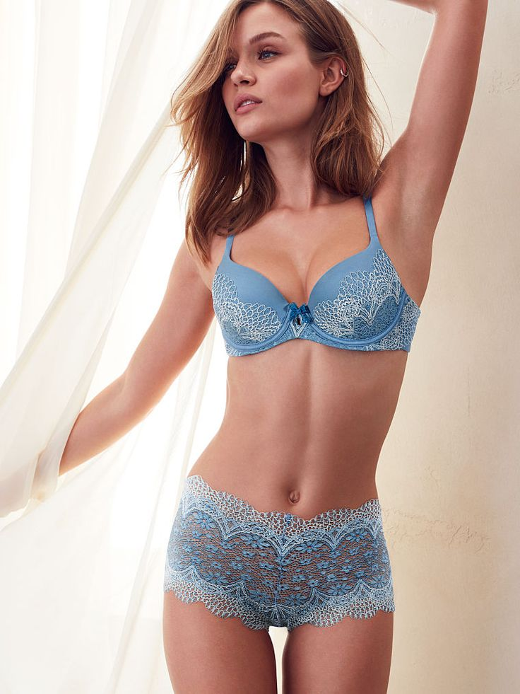 The Crochet Lace Sexy Shortie in Aqua Blue Cross Dye- Body by Victoria - Victoria's Secret
