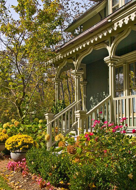 charming Victorian front porch and flowers