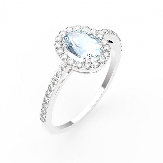 Bague Love - Argent, Aigue-marine et Diamants - Maison Gemmyo