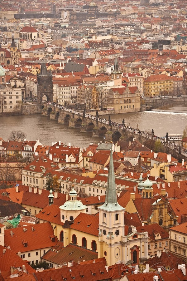 V iew of central Prague and Charles Bridge from the spire of St Vitus Cathedral in Prague, Czech Republic