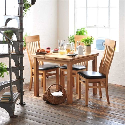 Light Oak 90-155cm Ext. Table and 4 Shaker Chairs (P153) with Free Delivery | The Cotswold Company. Country Furniture, Country Home, Country Style, Oak Furniture, Furniture Dressing, Oak Dining Table, Extending Dining Table, Spiral Staircase, Metal Staircase.